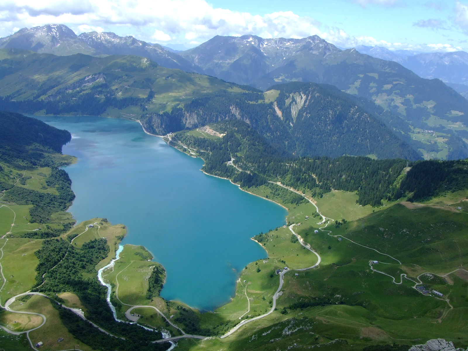 Lake of Roselend seen from the via ferrata of the Roc du Vent